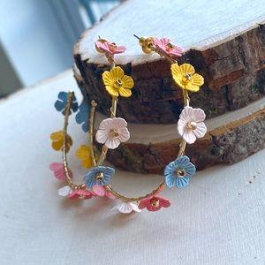 NEW Anthropologie Flower Hoop Statement Earrings